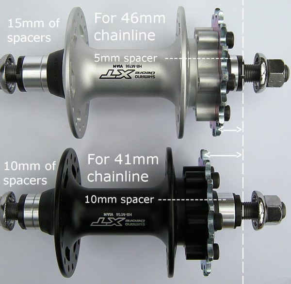 spacer set-up for different chainline