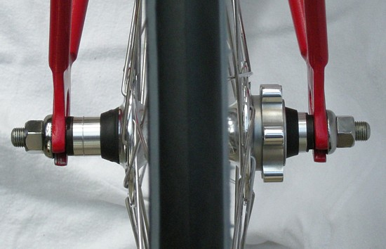 M756 front hub converted to 120mm spacing and 46mm chainline with no dishing